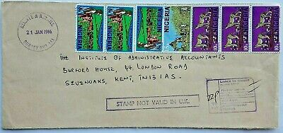 Nigeria 1986 Cover With 7 Stamps & Stamp Not Valid In U.k. Cachet Reigate Charge