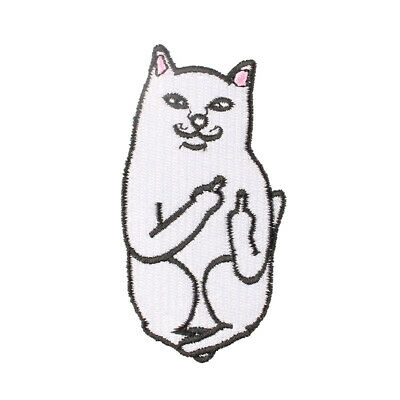 """The Funny Cat with Middle Finger up Embroidered Iron/Sew ON Patch 1.8x3.5"""""""