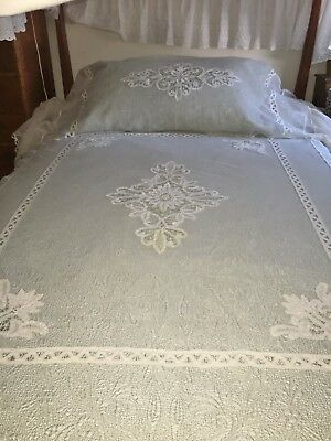 Antique C1920 Tape Lace Full Size Bedspread + Pillow Cover 2pcs Good Condition