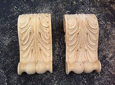 x2 Extra Large Decorative Carved Corbel Wood Raw -PSC- H28.2cm x W15cm x D7.7cm