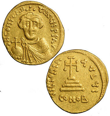 Gold Byzantine solidus of Constans II beardless.