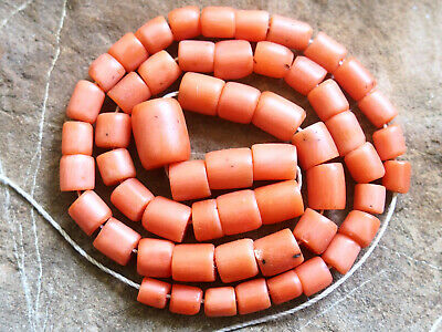 Natural Antique Salmon Aka Coral Organic Untreated Necklace 100% Old 珊瑚自然之星 1880