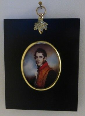 Portrait Miniature of army officer with whiskers in an acorn hanger black frame