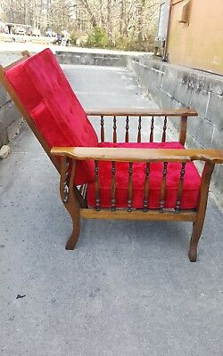 Antique Morris Style Recliner Chair Red velvet  Fabric Cushions