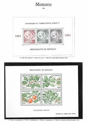 Monaco Neufs ** MNH Lot 1991 sous faciale/below face 7 euros