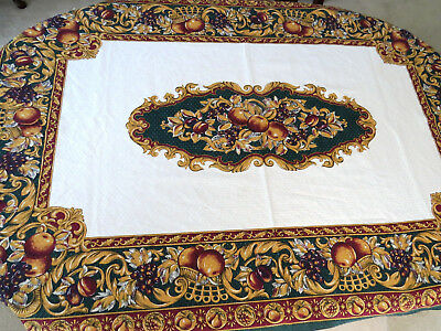 Large FRUIT Theme Tablecloth - Green Gold Rust White - Grapes Peaches Pears EUC