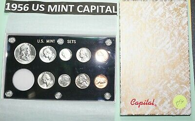 1956 P-D US Set-9 coins- BU in Black Capital holder & BOX 5 ARE 90% SILVER COINS