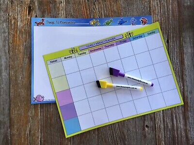 2x A4 Organiser Monthly Weekly Family Planner Magnetic Fridge Whiteboards +2pens