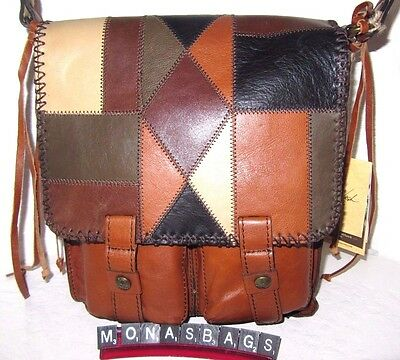 Patricia Nash New Armeno ZIg Zag Patchwork Messenger Crossbody Bag NWT $249