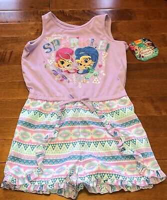 Shimmer and Shine Toddler Girl Purple One Piece Romper Outfit Set New 4T