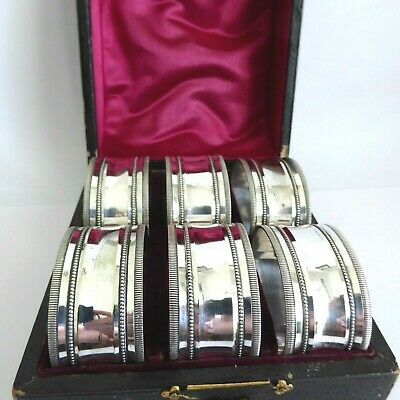 Antique Boxed Set Of 6 Silver Plate Napkin Rings With Fine Bead Decoration