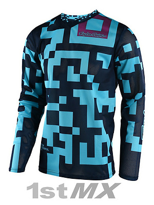 Troy Lee Designs GP AIR Maze Turquoise Navy Motocross Race Jersey Youth Large