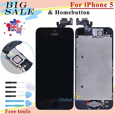 For iPhone 5 Black LCD Display Touch Screen Digitizer Assembly + Home Button UK