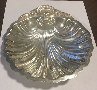 "Vintage Silver On Copper Scalloped Shell Bowl Dish Signed With 2 Crowns 7""x7"""