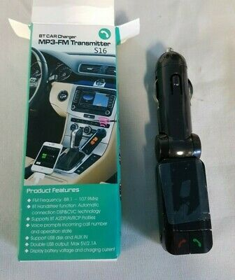 Bt Car Charger Mp3-Fm Transmitter S16  -  Free Uk P+P