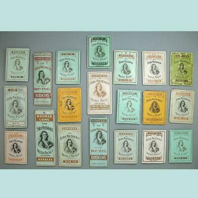 20 Antique Flora McDonald Needle Packets * English * Early-Mid 1900s