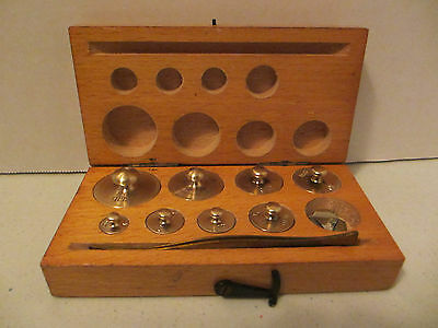 Antique 8 Pc Set Brass Scale Weights  #F