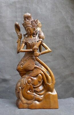 Very Nice quality wood statue of Ratih the Moon-Goddess, BALI Indonesia 1950