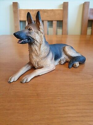 AD-GS1R2PW German Shepherd with Red Rose Glass Paperweight in Gift Box Christma