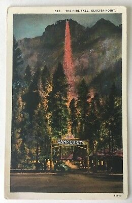 CA Postcard Yosemite California Camp Curry Glacier Point The Fire Fall (Western)