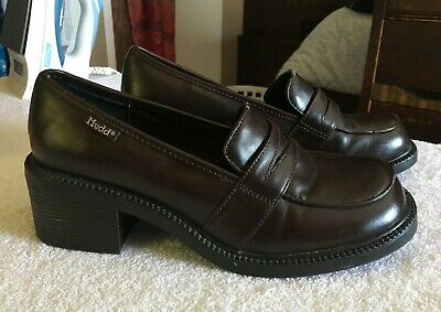 c91c5024901 Vtg 90s MUDD Chunky HEELS Grunge Schoolgirl Loafers Clueless Size 8 Shoes