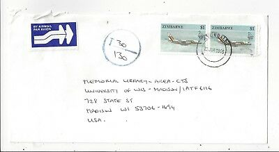 Zimbabwe 1995 Early Inflation Cover, Underpaid, $1 Airplane x2