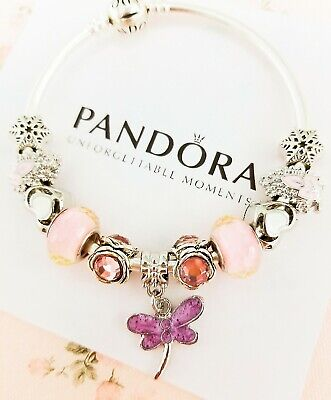Authentic Pandora Bracelet Silver Bangle with Pink Dragonfly European Charms