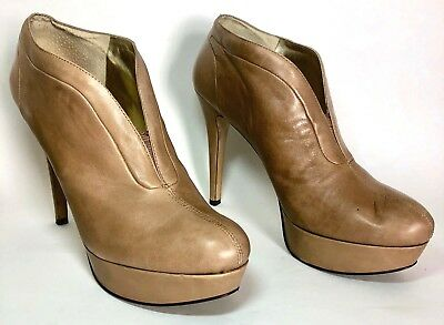 ed936df352b NINE WEST GRACIOUS Womens Booties Size 8 Leather Stiletto Camel ...