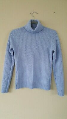 45c62f0adc08 NWT Marina Luna 100% Cashmere Turtleneck Sweater Small Blue Cable S Blue