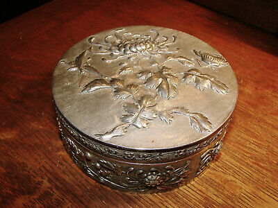 """Signed Quig Dyn Chinese Export Silver Repousse Covered Box 4 1/2"""" 7 Reg. Oz."""