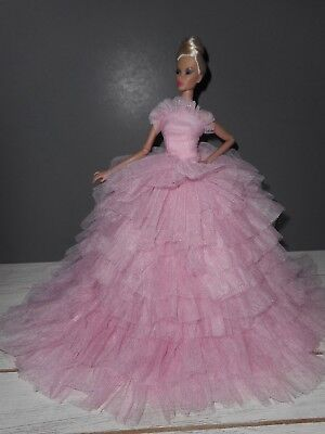 Barbie  Silkstone Fashion Royalty Nuface Handmade Pink Tulle Gown Lined New