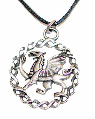 Celtic Welsh Dragon pendant Pewter on leather thong  Handmade in Scotland
