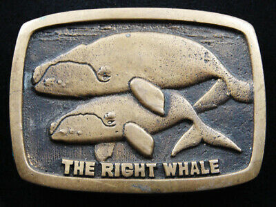 Ri05127 Vintage 1979 **The Right Whale** Solid Brass Baron Belt Buckle