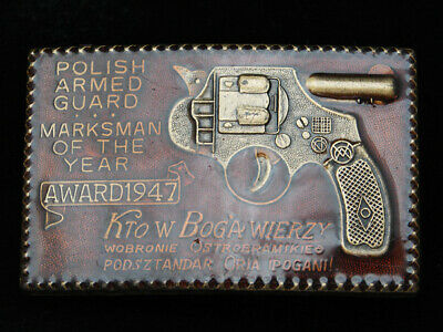 PL15101 VINTAGE 1970s **POLISH ARMED GUARD MARKSMAN OF THE YEAR** BELT BUCKLE