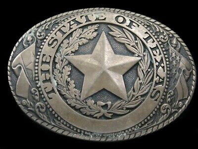 RK11145 VINTAGE 1980s **TEXAS** STATE COMMEMORATIVE SOLID BRASS BELT BUCKLE