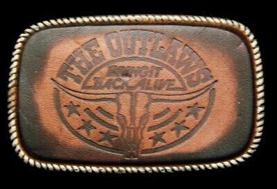 QJ02135 *NOS* VINTAGE 1970s **THE OUTLAWS** (BAND) MUSIC LEATHER BELT BUCKLE
