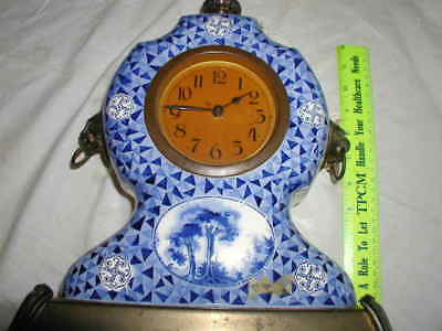 "Antique 13.5"" Tall Blue and White Colonial Clock Marked '495'"