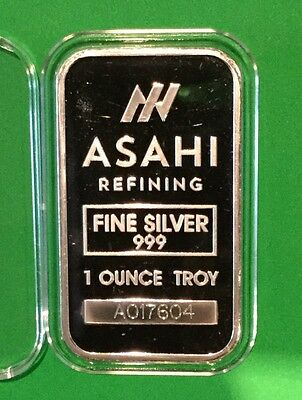 Asahi Collectible Rare Bar 1 Troy Oz .999 Fine Silver Ingot Medal Precious Metal