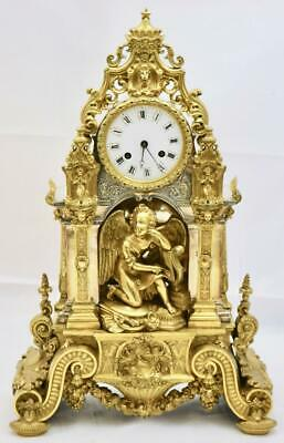 Exquisite Early French Empire Gilt & Silvered Bronze 8Day Striking Mantle Clock