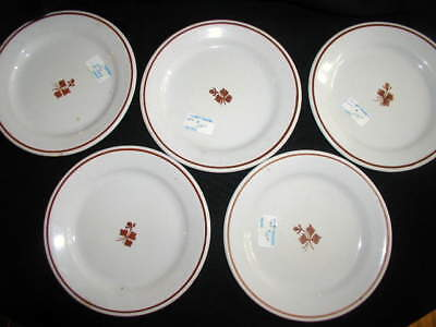 "5pc Antique TEA LEAF Ironstone LUNCH PLATES 8"" Copper Luster~Meakin England"