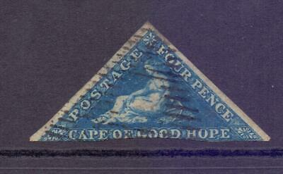 1855-63 Cape of Good Hope COGH 4d Blue IMPERF Triangle Good to Fine 2 Margin