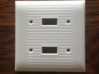 Vintage Sierra Electric 1960's Ivory Cover Plates Ribbed Double Switch