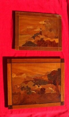 """Pair of Antique Marquetry Wood Inlaid, Wall Art; 16"""" x 20"""", 20"""" x 24"""""""