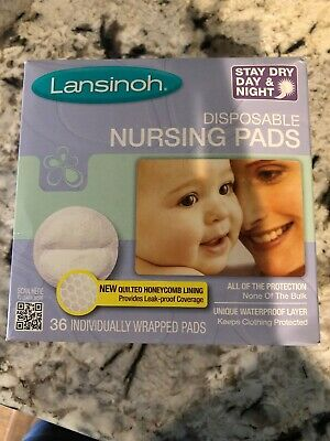 Lansinoh Stay Dry Disposable Nursing Pads w/ Quilted Honeycomb Lining, 36 Count