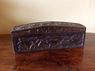 Rare Carved Hardwood Antique Box. Late 19th / Early 20th Century