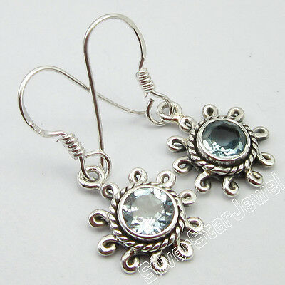 925 Sterling Silver Authentic Real CUT BLUE TOPAZ RETRO STYLE Earrings 1.2 Inch