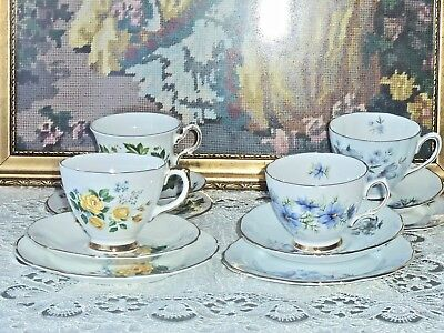 Fabulous Vintage Bone China Sets Of 4 Trios By Famous English Makers  1950- 1970