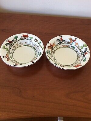 """Crown Staffordshire 2 Hunting Scene Coupe Soup Bowls 6 1/8"""""""