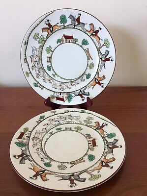 """Crown Staffordshire 2 Hunting Scene 9"""" Luncheon Plates"""