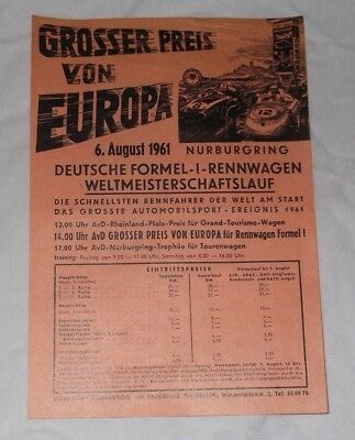 Flyer 1961 German F1 Grand Prix Nuerburgring Sterling Moss Graf von Trips Hill